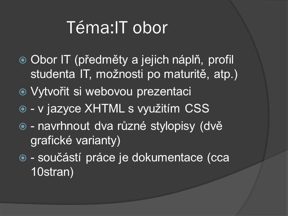 Téma:IT obor Obor IT (předměty a jejich náplň, profil studenta IT, možnosti po maturitě, atp.) Vytvořit si webovou prezentaci.