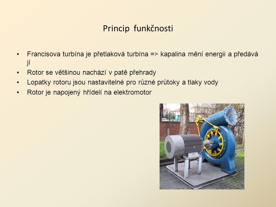 Princip funkčnosti Francisova turbína je přetlaková turbína => kapalina mění energii a předává jí. Rotor se většinou nachází v patě přehrady.