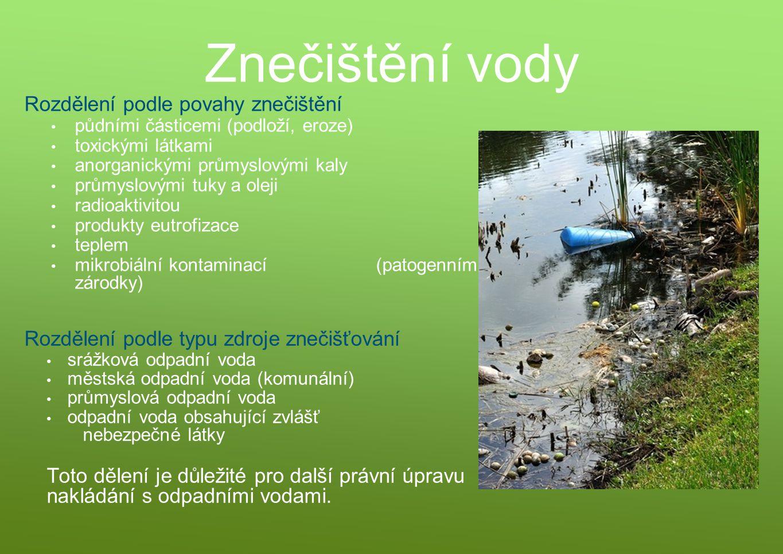 Znečištění vody Rozdělení podle povahy znečištění