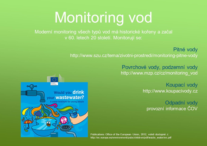 Monitoring vod Pitné vody Povrchové vody, podzemní vody Koupací vody