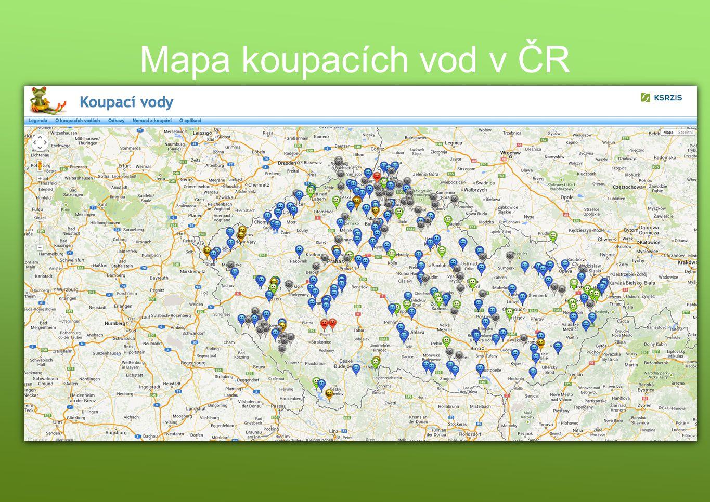 Mapa koupacích vod v ČR