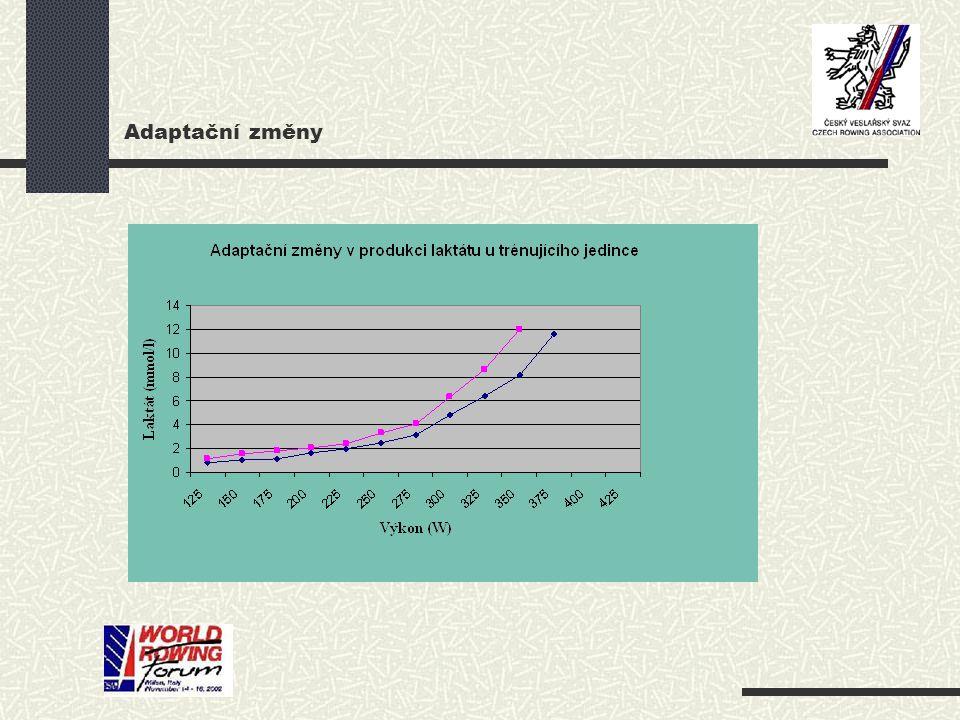 Adaptační změny V organizmu sportovce dochází při tréninkovém zatížení, zaměřeném na rozvoj aerobních schopností k různým adaptačním změnám: