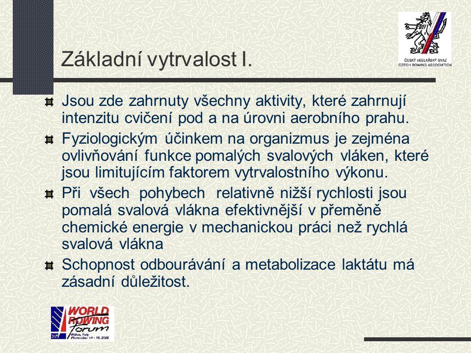 Základní vytrvalost I. Jsou zde zahrnuty všechny aktivity, které zahrnují intenzitu cvičení pod a na úrovni aerobního prahu.