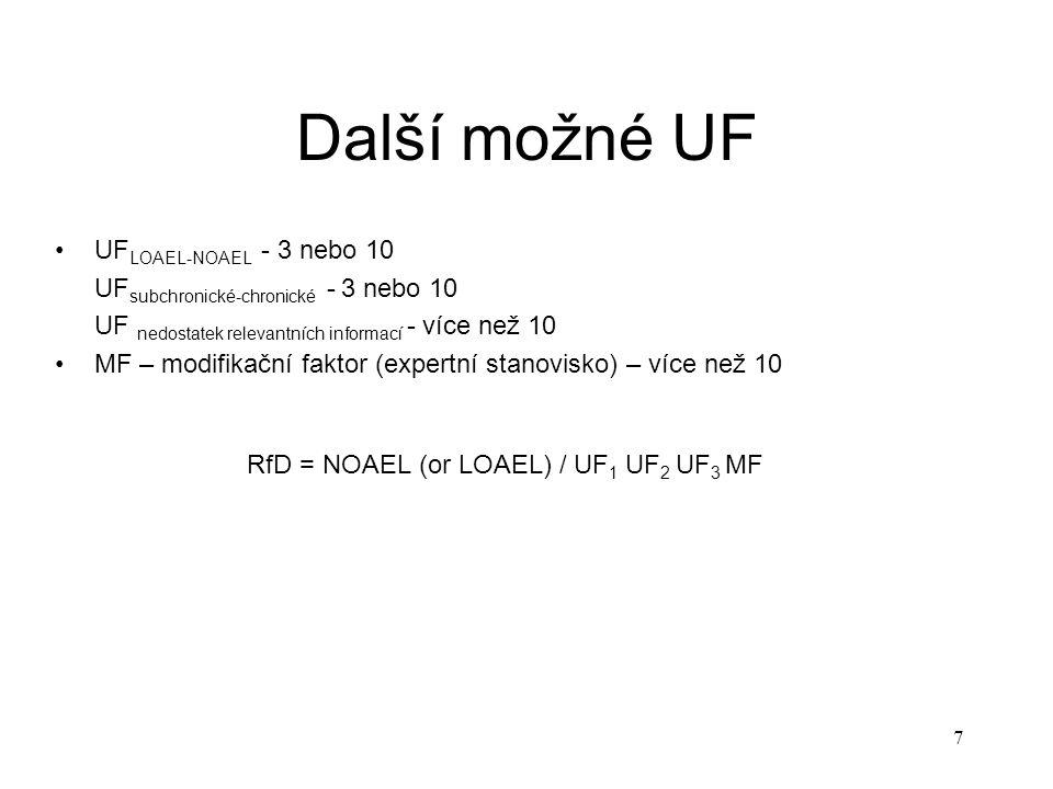 RfD = NOAEL (or LOAEL) / UF1 UF2 UF3 MF