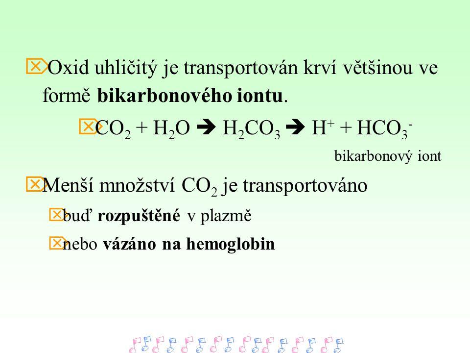 Menší množství CO2 je transportováno