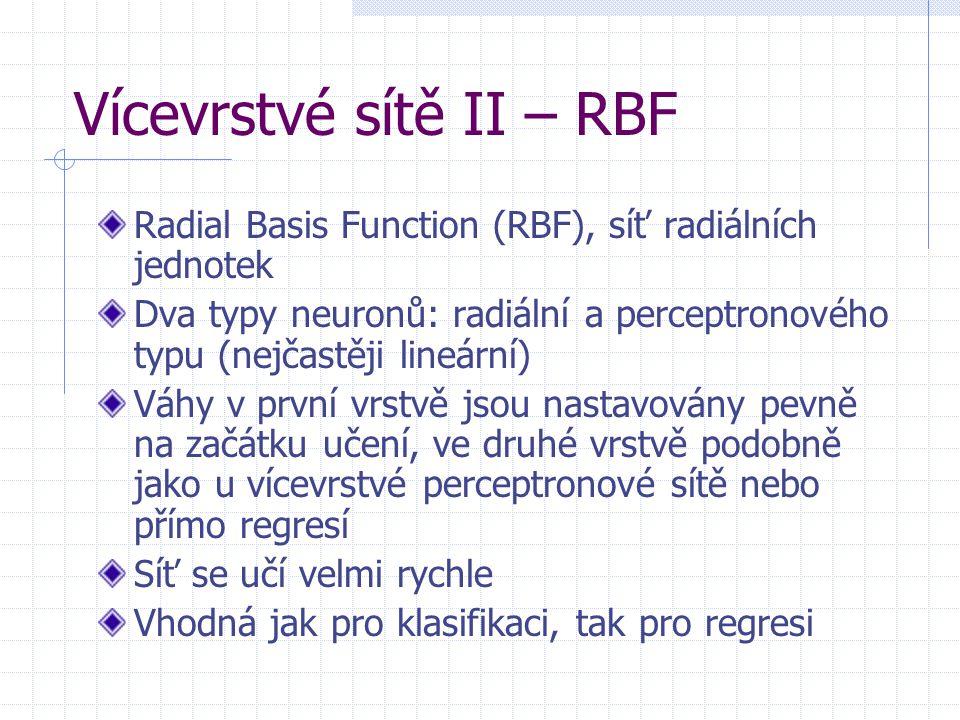 Vícevrstvé sítě II – RBF