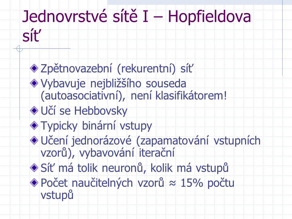 Jednovrstvé sítě I – Hopfieldova síť