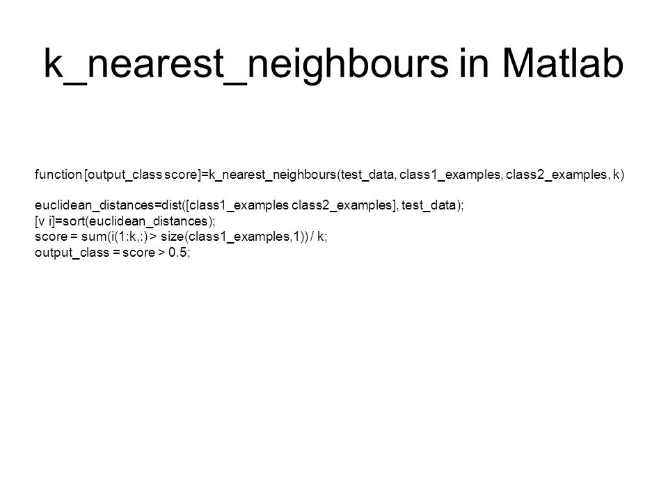 k_nearest_neighbours in Matlab