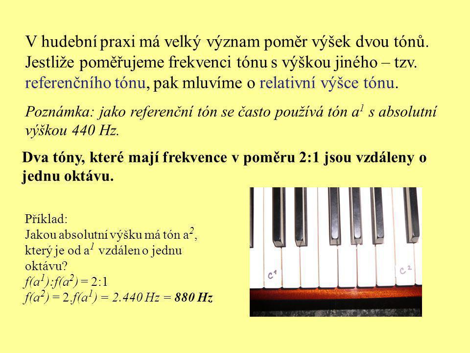 V hudební praxi má velký význam poměr výšek dvou tónů