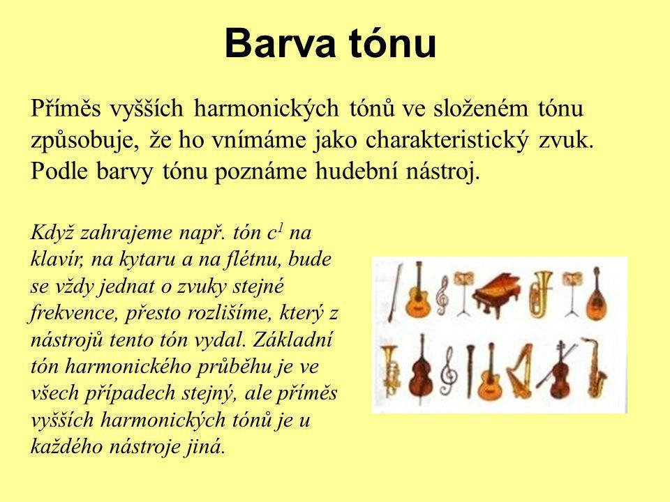 Barva tónu Příměs vyšších harmonických tónů ve složeném tónu způsobuje, že ho vnímáme jako charakteristický zvuk.