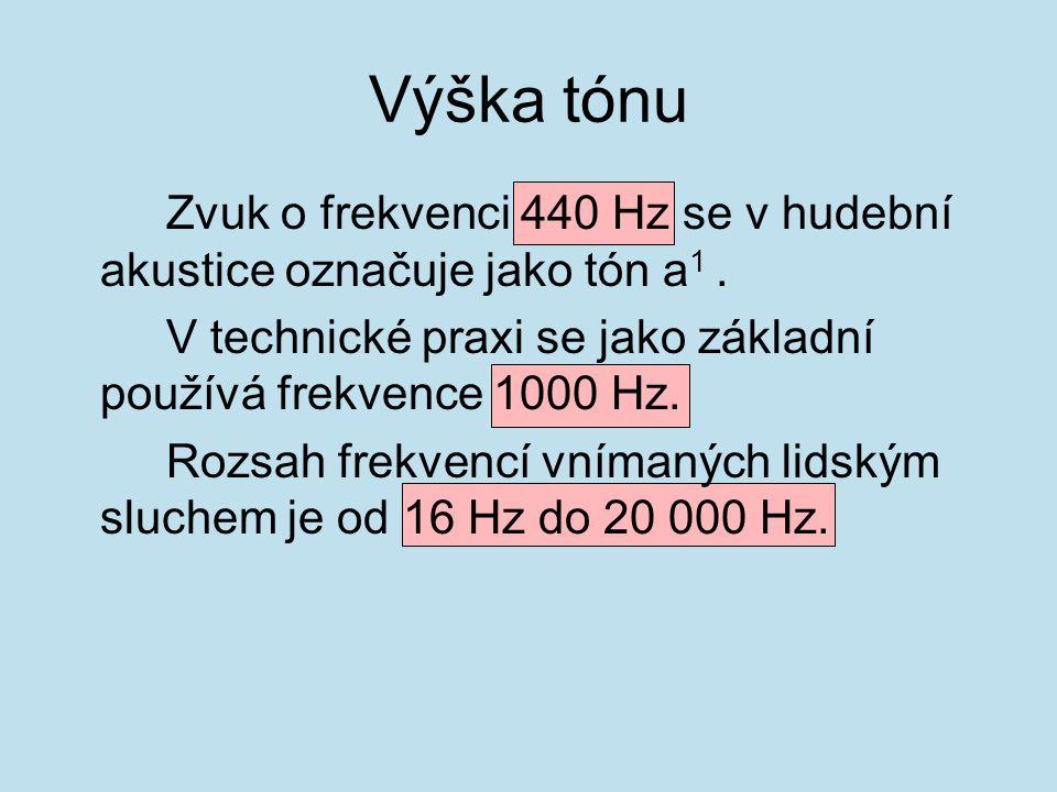 Výška tónu Zvuk o frekvenci 440 Hz se v hudební akustice označuje jako tón a1 . V technické praxi se jako základní používá frekvence 1000 Hz.