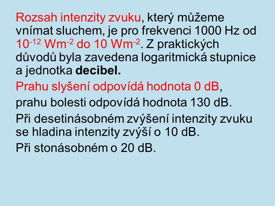 Rozsah intenzity zvuku, který můžeme vnímat sluchem, je pro frekvenci 1000 Hz od 10-12 Wm-2 do 10 Wm-2. Z praktických důvodů byla zavedena logaritmická stupnice a jednotka decibel.