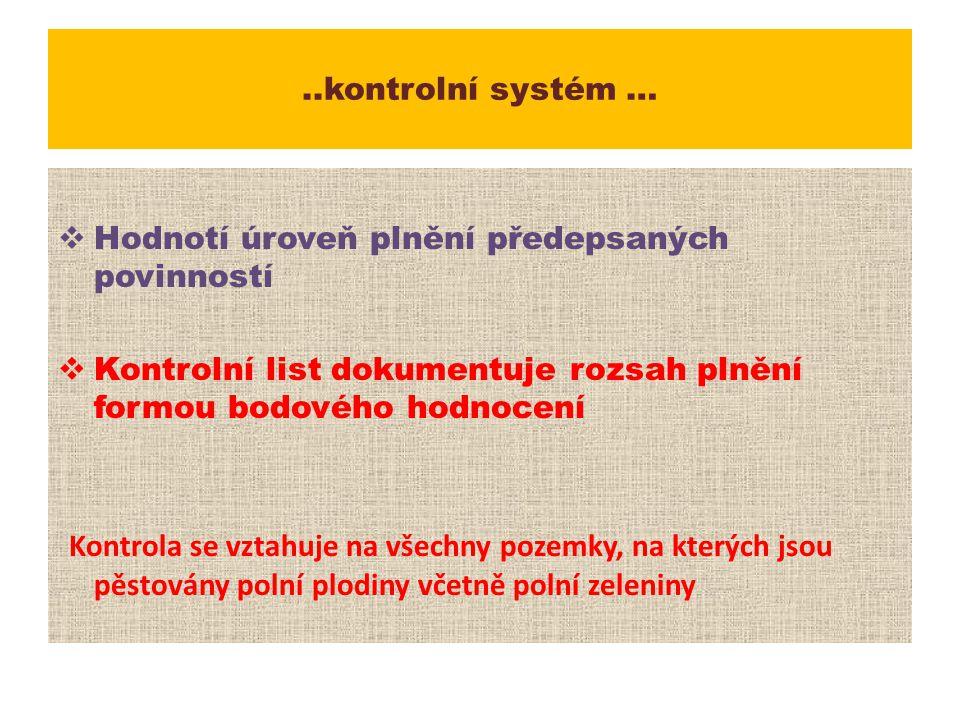 ..kontrolní systém … Hodnotí úroveň plnění předepsaných povinností. Kontrolní list dokumentuje rozsah plnění formou bodového hodnocení.