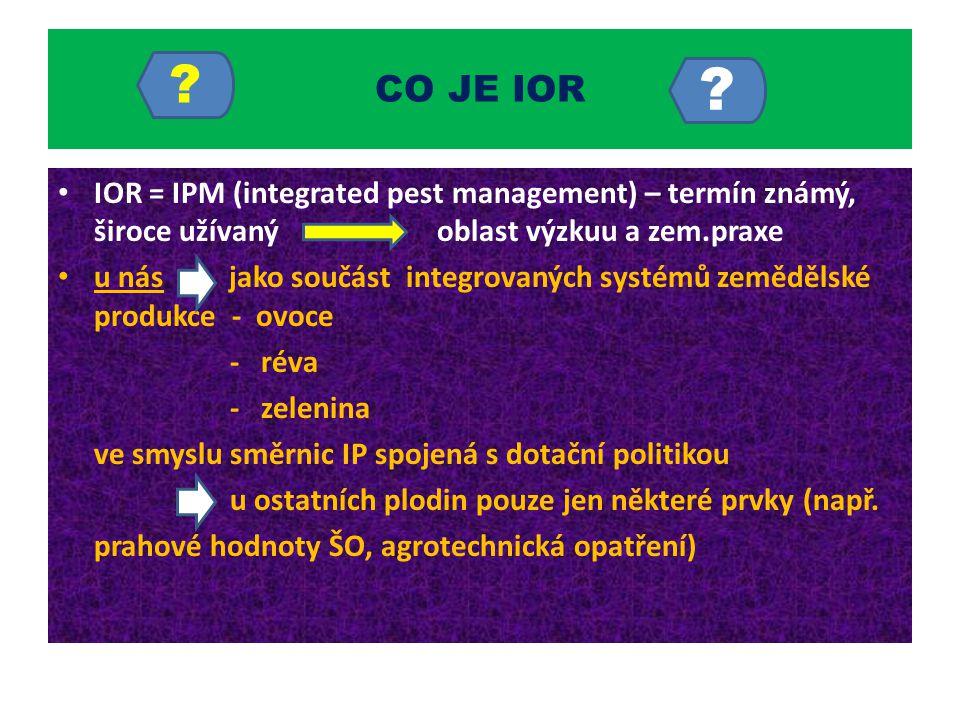 CO JE IOR IOR = IPM (integrated pest management) – termín známý, široce užívaný oblast výzkuu a zem.praxe.