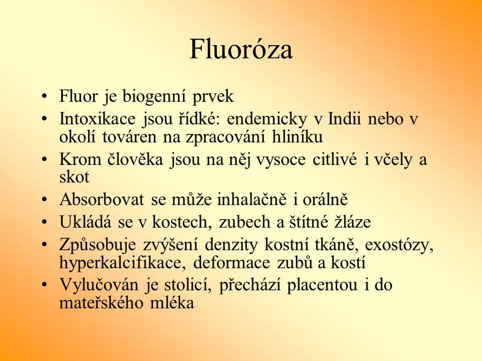 Fluoróza Fluor je biogenní prvek