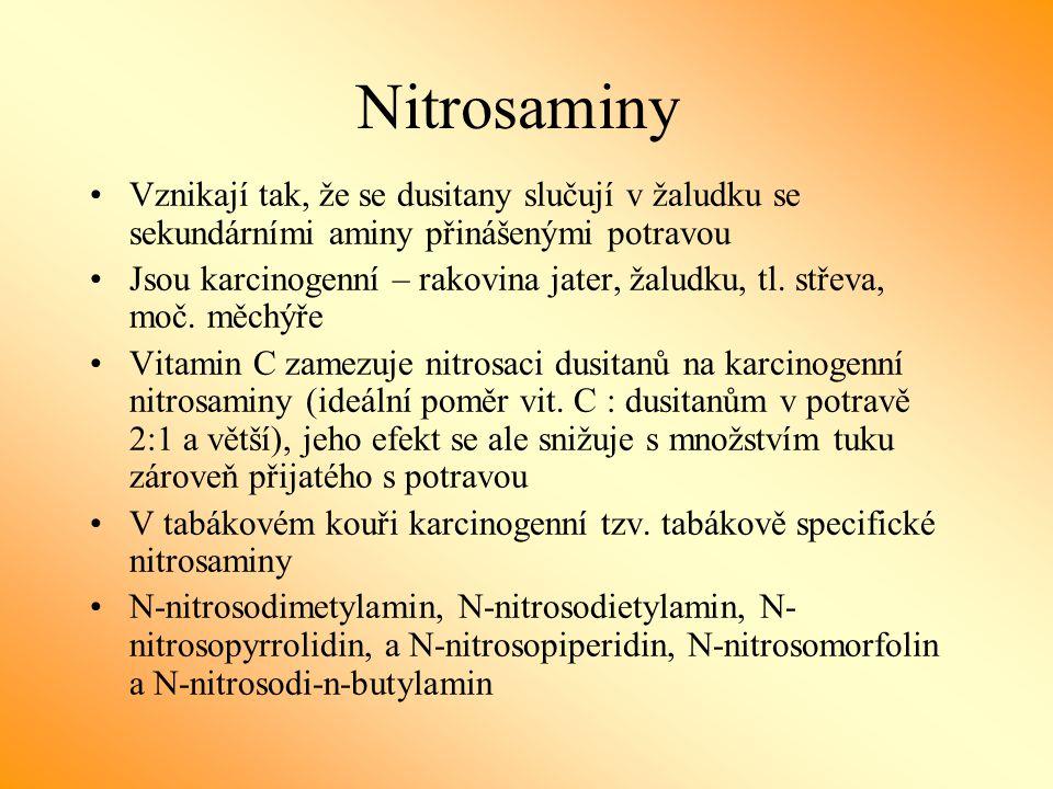 Nitrosaminy Vznikají tak, že se dusitany slučují v žaludku se sekundárními aminy přinášenými potravou.