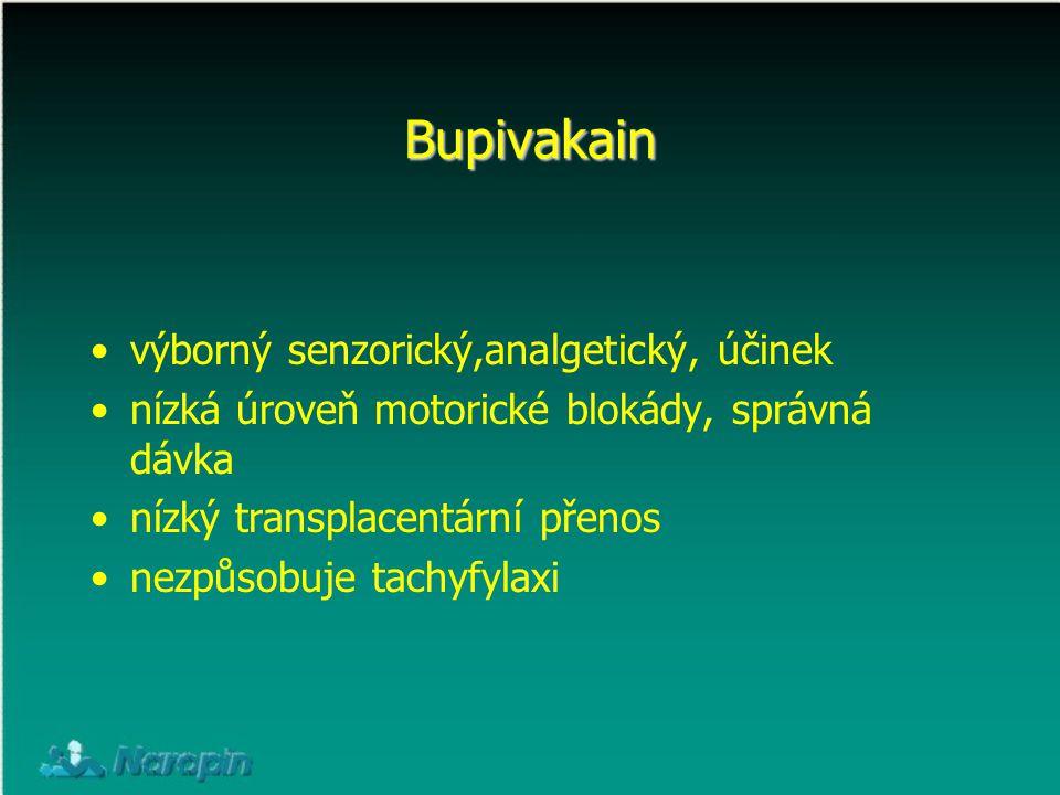 Bupivakain výborný senzorický,analgetický, účinek