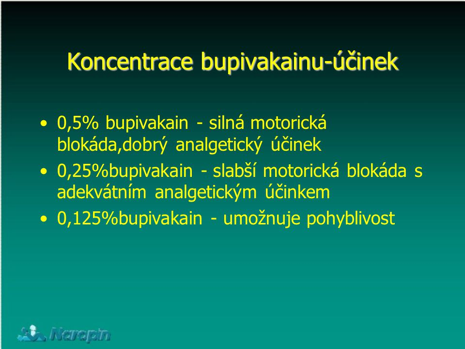 Koncentrace bupivakainu-účinek