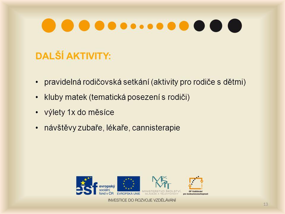 DALŠÍ AKTIVITY: pravidelná rodičovská setkání (aktivity pro rodiče s dětmi) kluby matek (tematická posezení s rodiči)
