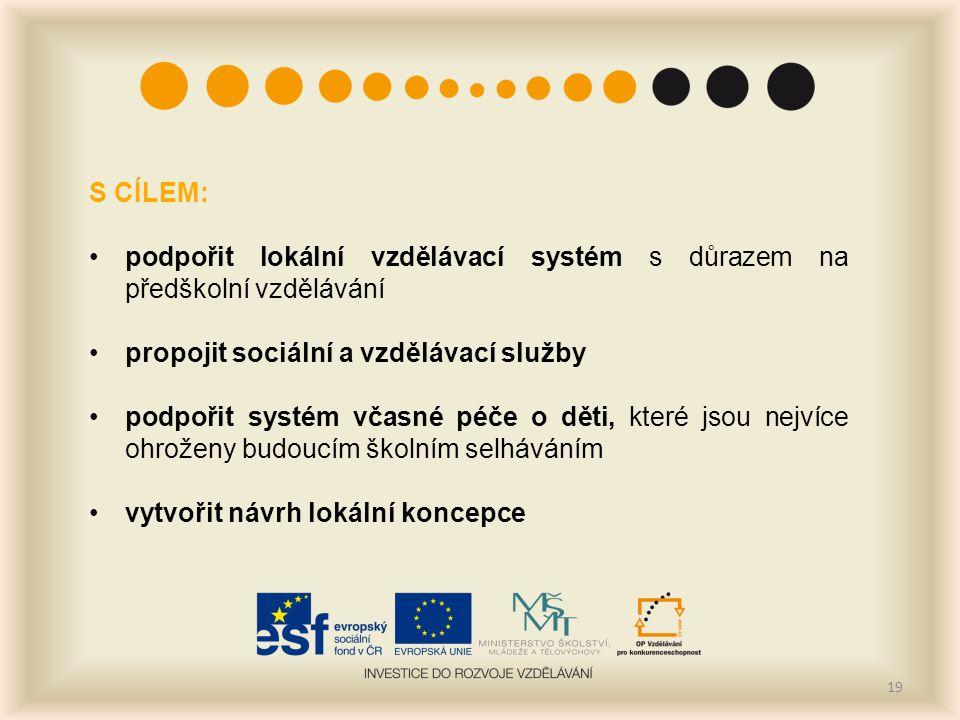 S CÍLEM: podpořit lokální vzdělávací systém s důrazem na předškolní vzdělávání. propojit sociální a vzdělávací služby.