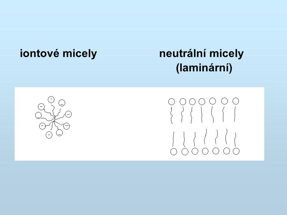 iontové micely neutrální micely (laminární)