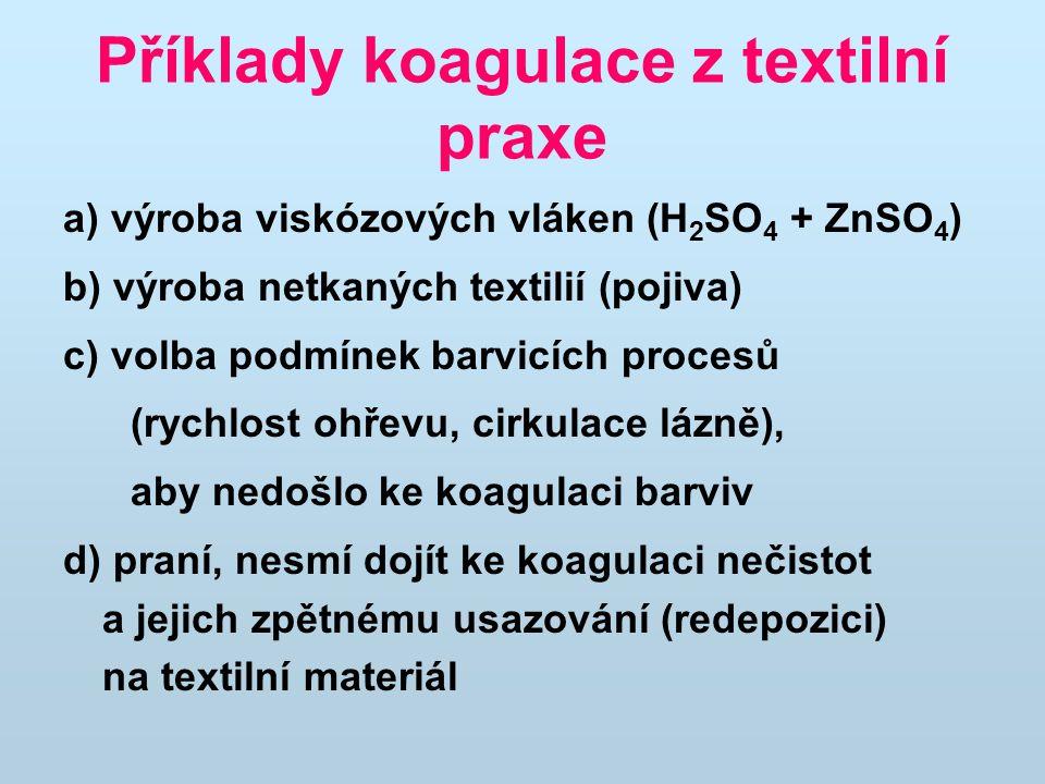 Příklady koagulace z textilní praxe