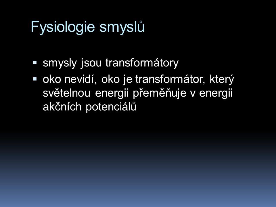 Fysiologie smyslů smysly jsou transformátory