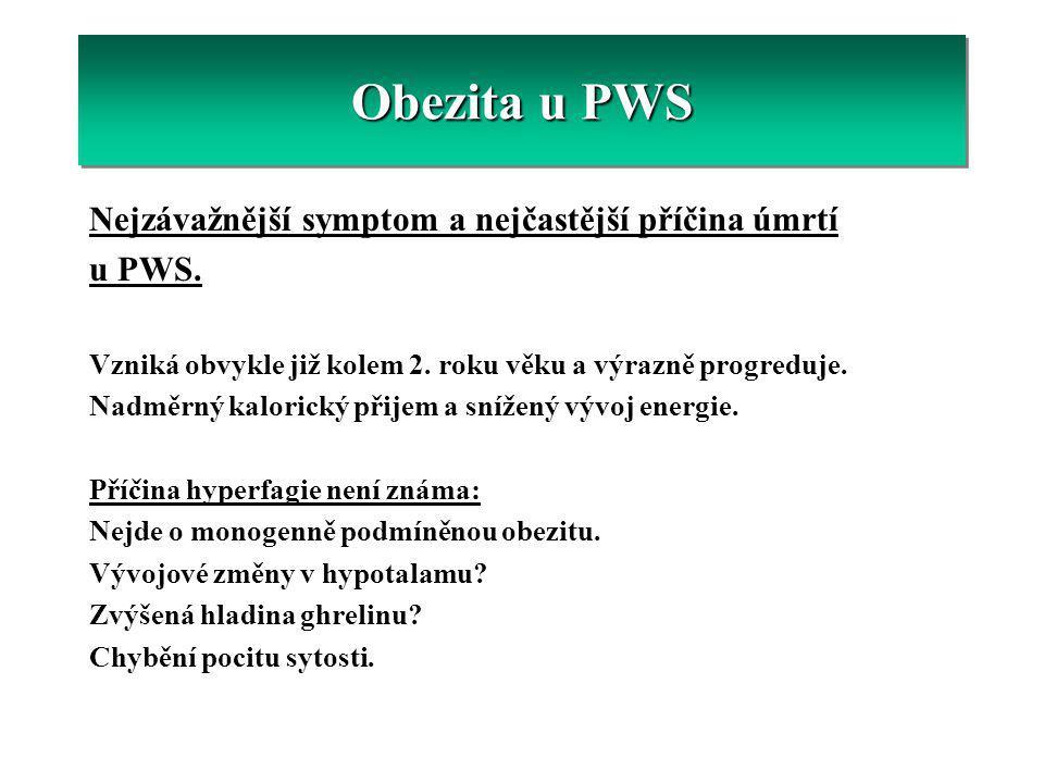 Obezita u PWS Nejzávažnější symptom a nejčastější příčina úmrtí u PWS.