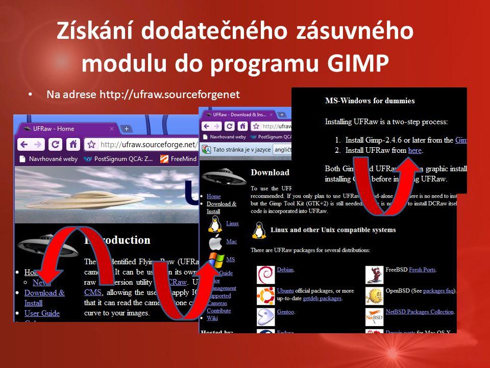 Získání dodatečného zásuvného modulu do programu GIMP