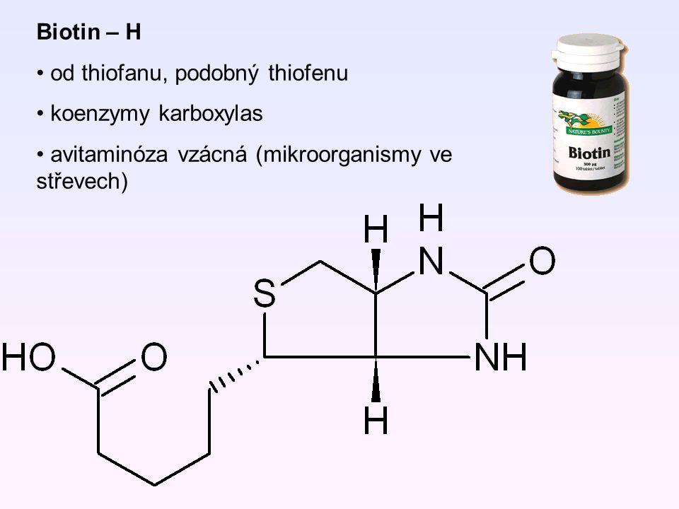 Biotin – H od thiofanu, podobný thiofenu. koenzymy karboxylas.