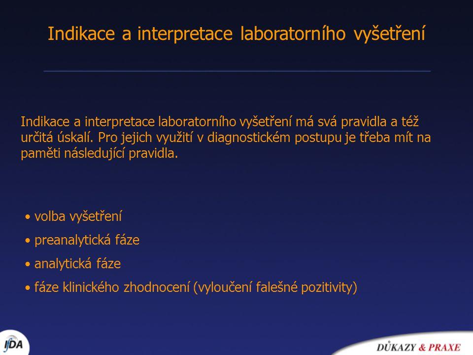 Indikace a interpretace laboratorního vyšetření