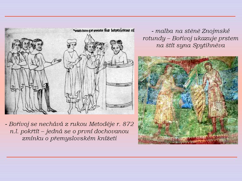 - malba na stěně Znojmské rotundy – Bořivoj ukazuje prstem na štít syna Spytihněva