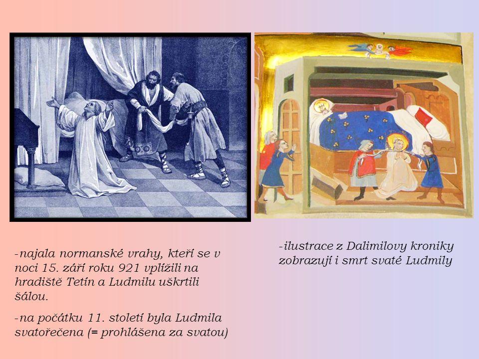 ilustrace z Dalimilovy kroniky zobrazují i smrt svaté Ludmily