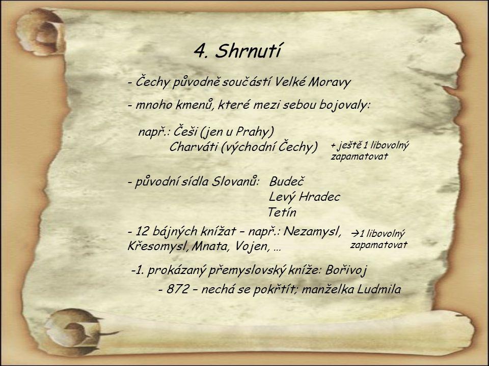 4. Shrnutí - Čechy původně součástí Velké Moravy