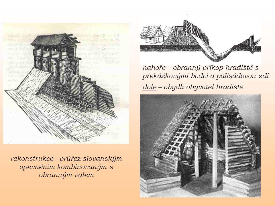 nahoře – obranný příkop hradiště s překážkovými bodci a palisádovou zdí