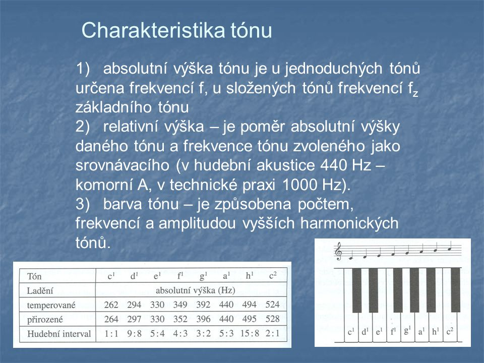 Charakteristika tónu 1) absolutní výška tónu je u jednoduchých tónů určena frekvencí f, u složených tónů frekvencí fz základního tónu.