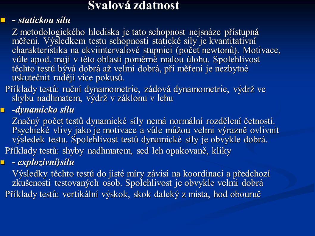 - statickou sílu Svalová zdatnost