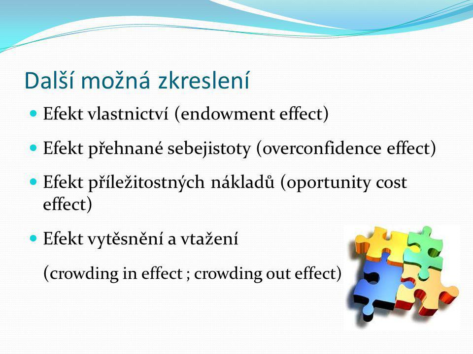 Další možná zkreslení Efekt vlastnictví (endowment effect)