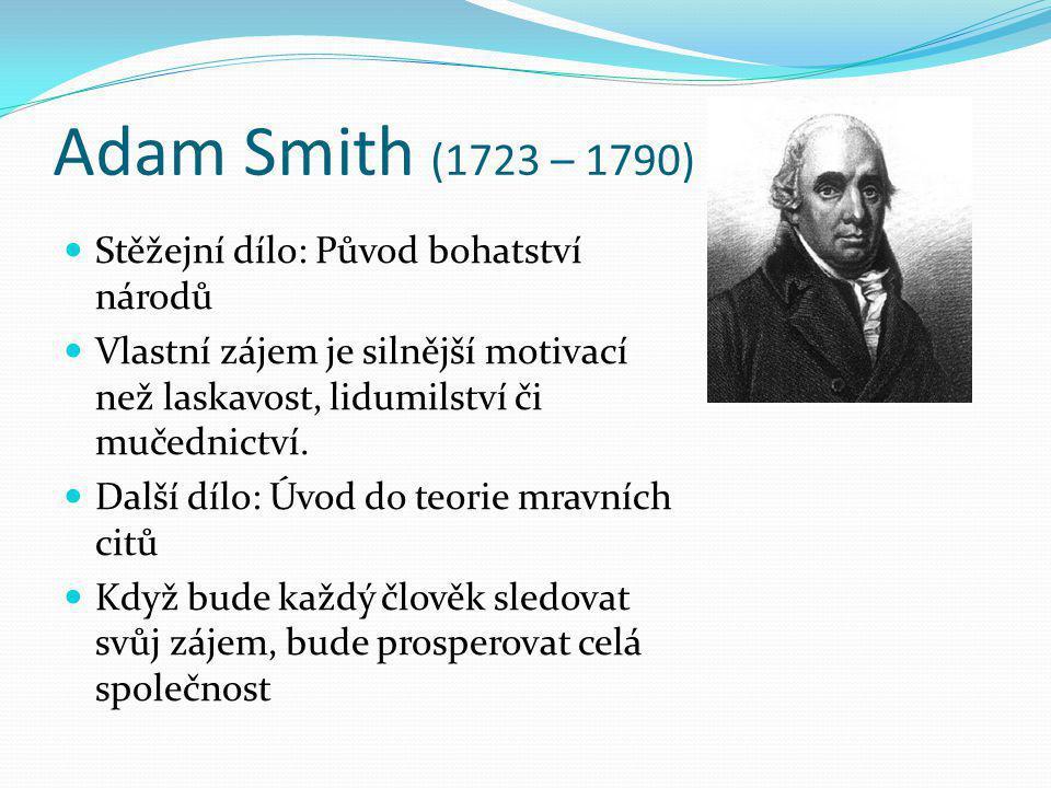 Adam Smith (1723 – 1790) Stěžejní dílo: Původ bohatství národů