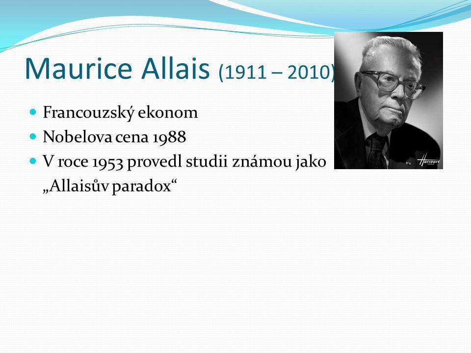 Maurice Allais (1911 – 2010) Francouzský ekonom Nobelova cena 1988