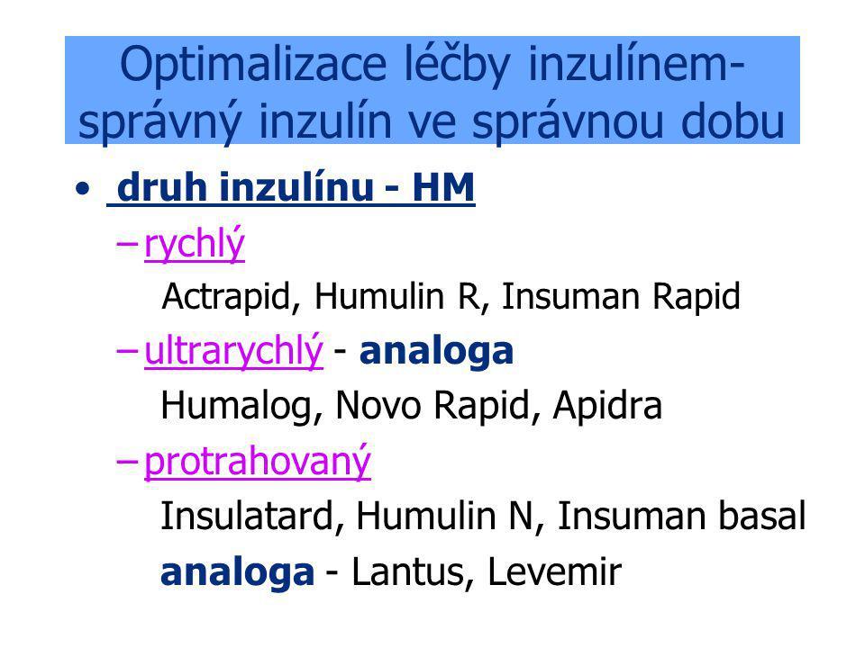 Optimalizace léčby inzulínem- správný inzulín ve správnou dobu