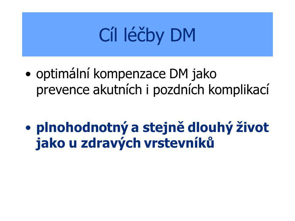 Cíl léčby DM optimální kompenzace DM jako prevence akutních i pozdních komplikací.