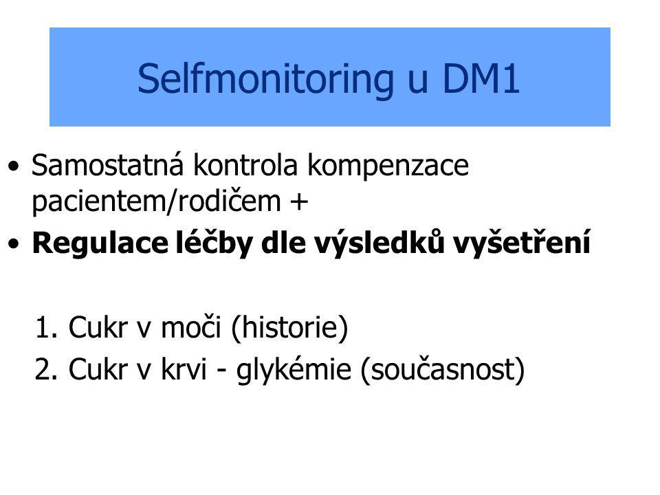 Selfmonitoring u DM1 Samostatná kontrola kompenzace pacientem/rodičem + Regulace léčby dle výsledků vyšetření.