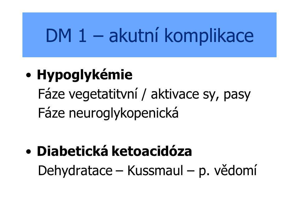 DM 1 – akutní komplikace Hypoglykémie