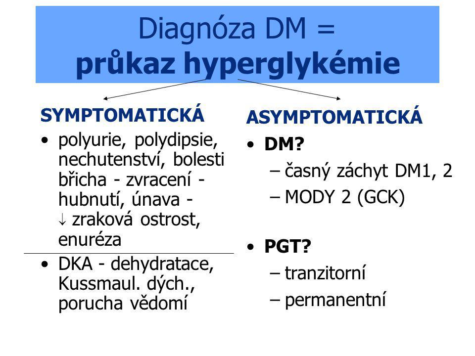 Diagnóza DM = průkaz hyperglykémie