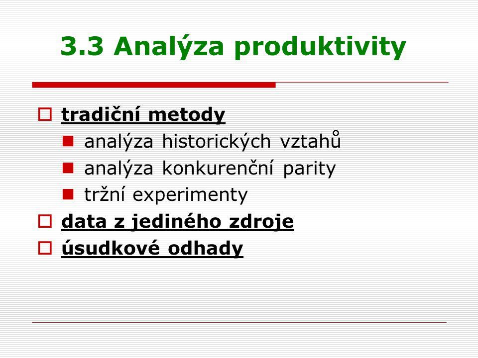 3.3 Analýza produktivity tradiční metody analýza historických vztahů