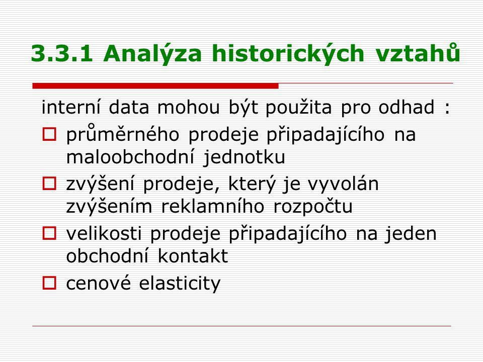 3.3.1 Analýza historických vztahů