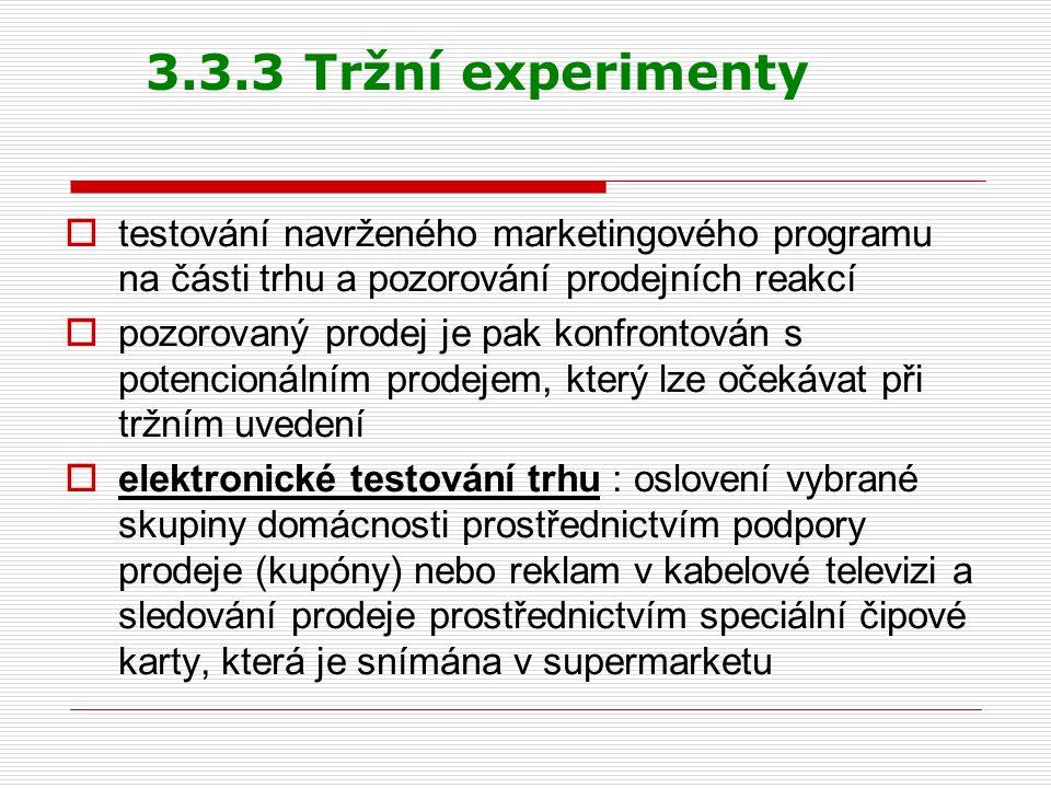 3.3.3 Tržní experimenty testování navrženého marketingového programu na části trhu a pozorování prodejních reakcí.
