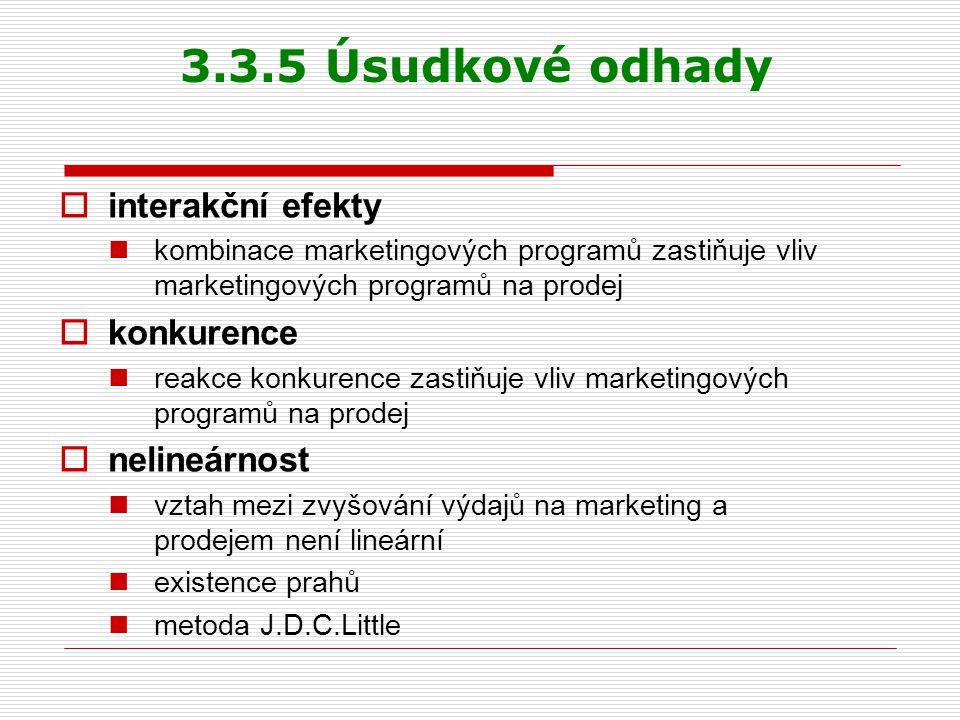 3.3.5 Úsudkové odhady interakční efekty konkurence nelineárnost