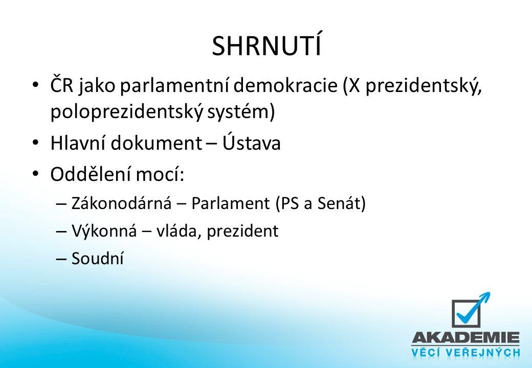 SHRNUTÍ ČR jako parlamentní demokracie (X prezidentský, poloprezidentský systém) Hlavní dokument – Ústava.